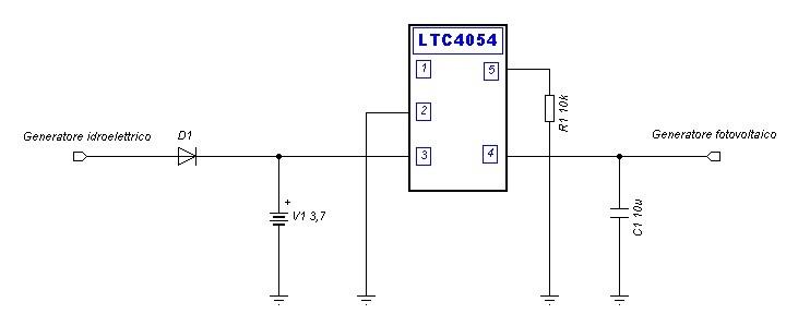 Schema circuito regolatore di carica